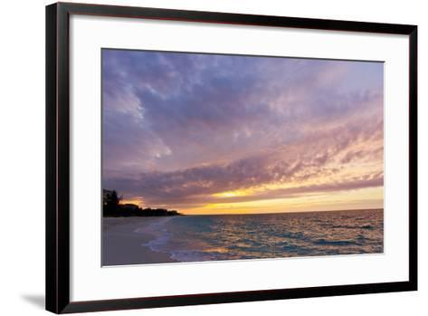 A Purple and Pink Sky at Sunset over Grace Bay and the Beach-Mike Theiss-Framed Art Print