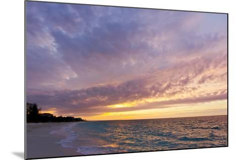 A Purple and Pink Sky at Sunset over Grace Bay and the Beach-Mike Theiss-Mounted Photographic Print