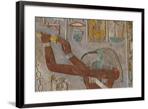 The God Thoth in a Relief Portrait at the Temple of Karnak-Michael Melford-Framed Art Print