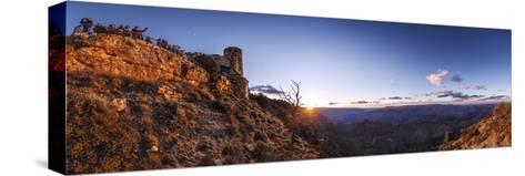 Tourists Watch Sunset over the Grand Canyon, the Longest Canyon on Earth-Babak Tafreshi-Stretched Canvas Print