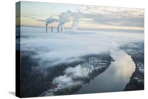 Steam and Smoke Rise from the Cooling Towers and Chimneys of a Power Plant-Robb Kendrick-Stretched Canvas Print