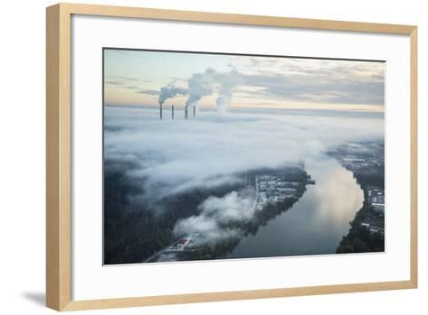Steam and Smoke Rise from the Cooling Towers and Chimneys of a Power Plant-Robb Kendrick-Framed Art Print