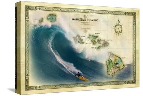 A 1876 Centennial Map of the Hawaiian Islands Depicting a Surfer on the Waves of Maui-Patrick McFeeley-Stretched Canvas Print