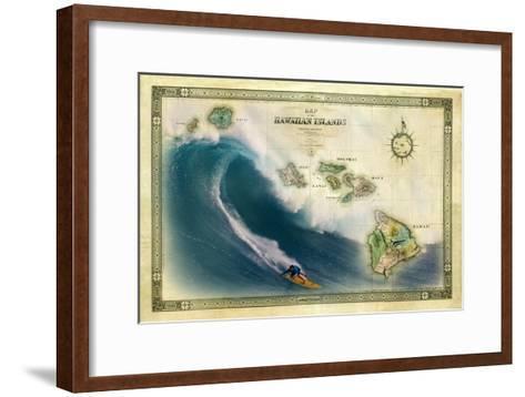 A 1876 Centennial Map of the Hawaiian Islands Depicting a Surfer on the Waves of Maui-Patrick McFeeley-Framed Art Print