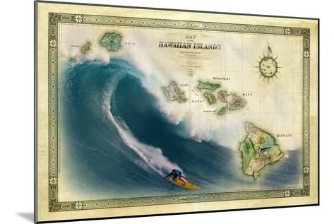 A 1876 Centennial Map of the Hawaiian Islands Depicting a Surfer on the Waves of Maui-Patrick McFeeley-Mounted Photographic Print