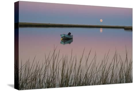 Moonrise at Sunset and a Lone Boat in Salt Pond Bay, Eastham, Cape Cod, Massachusetts-Michael Melford-Stretched Canvas Print
