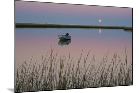 Moonrise at Sunset and a Lone Boat in Salt Pond Bay, Eastham, Cape Cod, Massachusetts-Michael Melford-Mounted Photographic Print