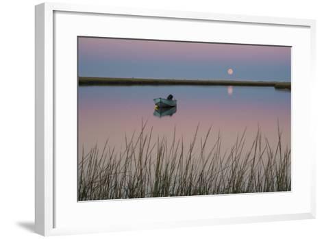 Moonrise at Sunset and a Lone Boat in Salt Pond Bay, Eastham, Cape Cod, Massachusetts-Michael Melford-Framed Art Print
