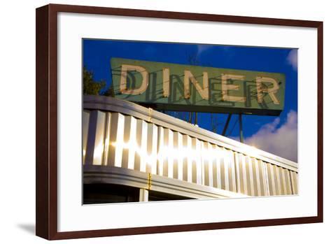 An Old Neon Diner Sign Above Glistening Reflective Aluminum Siding-Stephen St^ John-Framed Art Print
