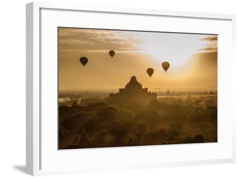 Balloons Above Stupas and Dhammayangyi Patho Temple from the Shwesandaw Pagoda-Tino Soriano-Framed Art Print