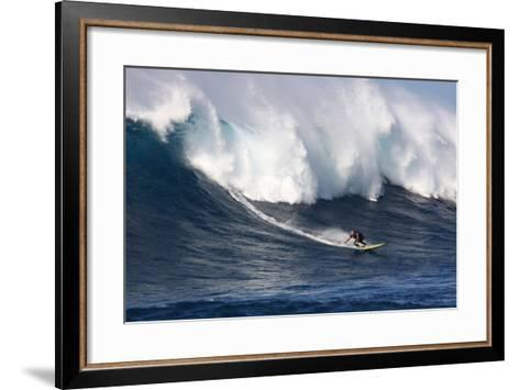 Garrett Mcnamara, Big Wave Surfer, Surfing Down a Wave Face at Jaws-Patrick McFeeley-Framed Art Print