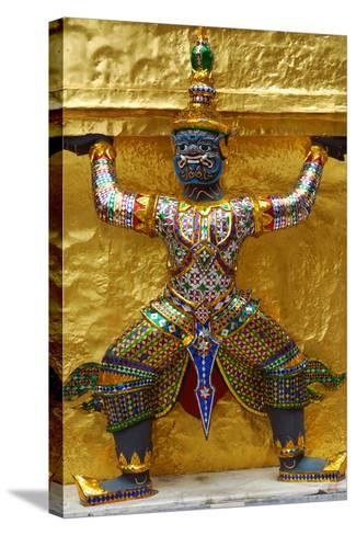 An Ornate Carving of a Mythological God Holding Up a Golden Wall-Darlyne A^ Murawski-Stretched Canvas Print