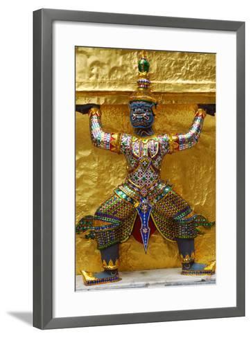 An Ornate Carving of a Mythological God Holding Up a Golden Wall-Darlyne A^ Murawski-Framed Art Print