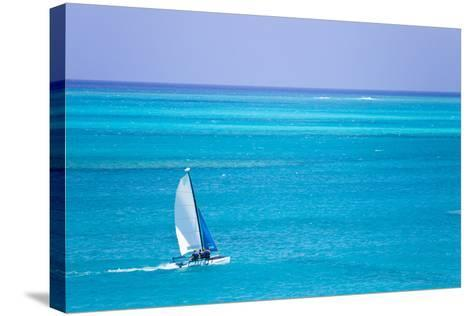 Sail Boaters Enjoying the Turquoise Waters of Grace Bay, in the Turks and Caicos Islands-Mike Theiss-Stretched Canvas Print