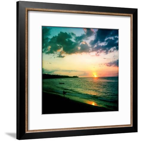 A Surfer Heading Home at Sunset on Shacks Beach Near Aquadilla, Puerto Rico-Skip Brown-Framed Art Print