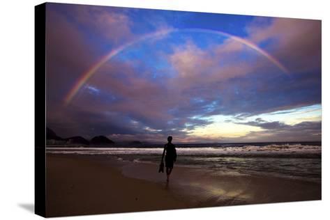 A Rainbow over Copacabana Beach in Rio De Janeiro-Chris Bickford-Stretched Canvas Print