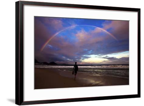 A Rainbow over Copacabana Beach in Rio De Janeiro-Chris Bickford-Framed Art Print