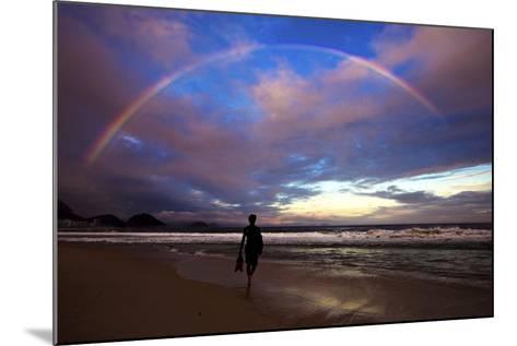 A Rainbow over Copacabana Beach in Rio De Janeiro-Chris Bickford-Mounted Photographic Print