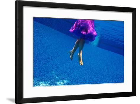 A Model Floats in a Pool, Wearing a Skirt and Heels-Heather Perry-Framed Art Print