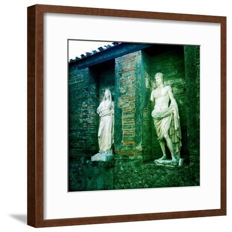 Roman Statues in the Ruins of Pompeii, Italy-Skip Brown-Framed Art Print