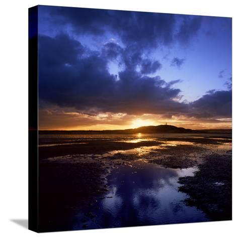 Sunset over Scrabo Tower on Strangford Lough-Chris Hill-Stretched Canvas Print