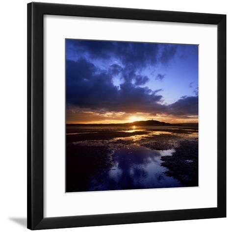 Sunset over Scrabo Tower on Strangford Lough-Chris Hill-Framed Art Print