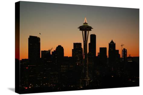 Lights of the Seattle Skyline in 2005-Aaron Huey-Stretched Canvas Print