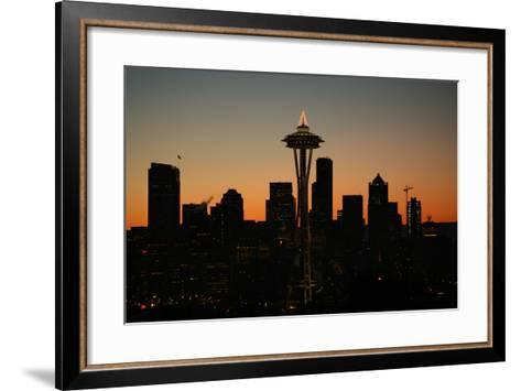 Lights of the Seattle Skyline in 2005-Aaron Huey-Framed Art Print
