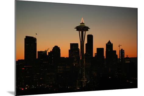Lights of the Seattle Skyline in 2005-Aaron Huey-Mounted Photographic Print