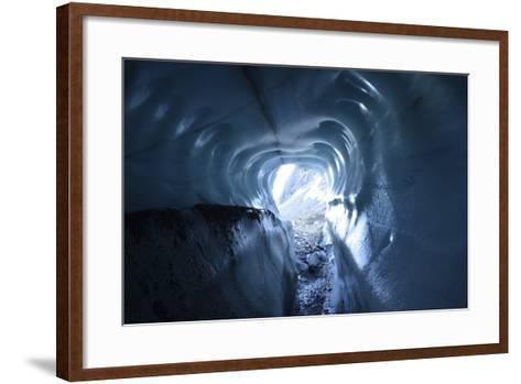 A Tunnel of Melt-Sculpted Blue Glacier Ice-Keith Ladzinski-Framed Art Print