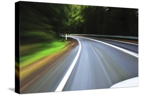 A View of a Bend in the Road from a Moving Vehicle-Keith Ladzinski-Stretched Canvas Print