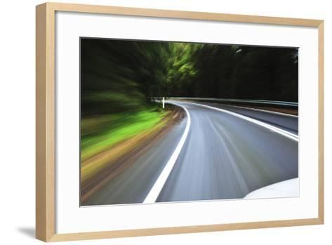 A View of a Bend in the Road from a Moving Vehicle-Keith Ladzinski-Framed Art Print