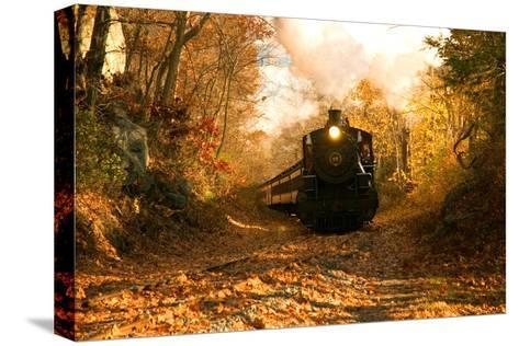 The Essex Steam Train Chugs Through the Autumn Forest-Brian Drouin-Stretched Canvas Print