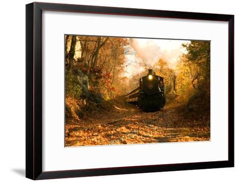 The Essex Steam Train Chugs Through the Autumn Forest-Brian Drouin-Framed Art Print
