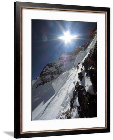 Expedition Members Approach the Japanese Couloir-Darius Zaluski-Framed Art Print