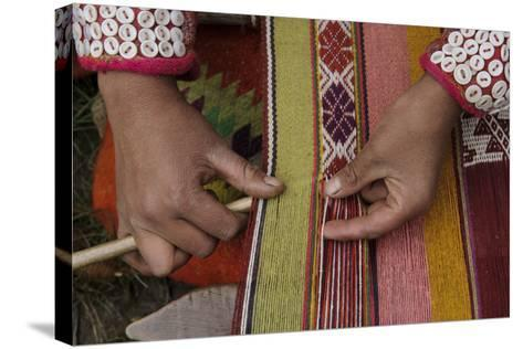 A Quechua Woman Weaves on an Andean Backstrap Loom-Beth Wald-Stretched Canvas Print