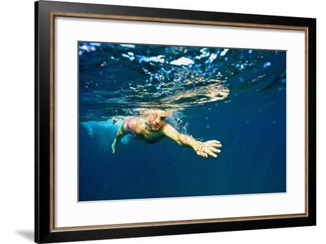 A Man Swims in the Caribbean Sea-Heather Perry-Framed Art Print