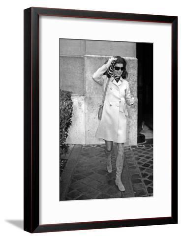 Jackie Kennedy Onassis (Nina Ricci Sunglasses, Gucci Bag) Leaving Crillon Hotel, Paris, 1970--Framed Art Print