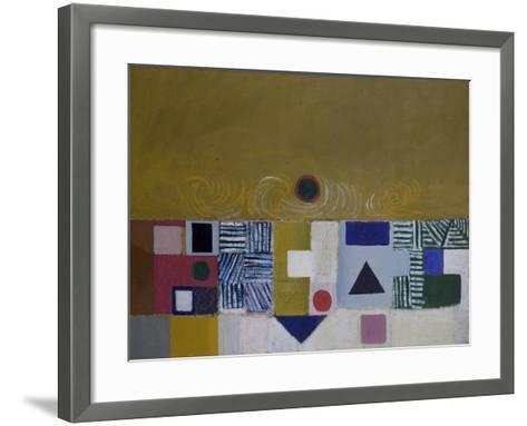 Square Motif, Blue and Gold: The Eclipse-Victor Pasmore-Framed Art Print