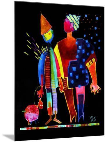 Floating Husband, Dog and Wife-Susse Volander-Mounted Art Print