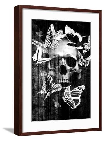 Skull Butterfly Crown--Framed Art Print