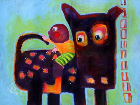 The Dog Sees It's Tail-Susse Volander-Stretched Canvas Print