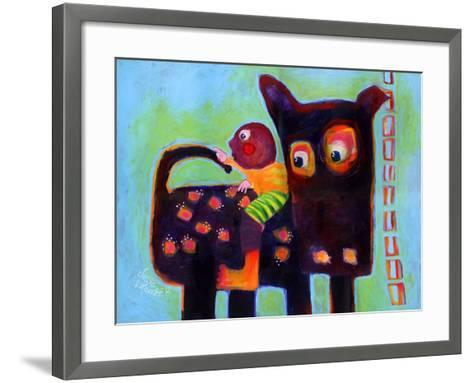 The Dog Sees It's Tail-Susse Volander-Framed Art Print