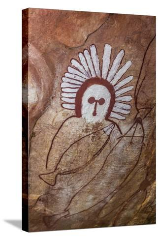 Aboriginal Wandjina Cave Artwork in Sandstone Caves at Raft Point, Kimberley, Western Australia-Michael Nolan-Stretched Canvas Print