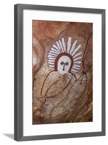 Aboriginal Wandjina Cave Artwork in Sandstone Caves at Raft Point, Kimberley, Western Australia-Michael Nolan-Framed Art Print