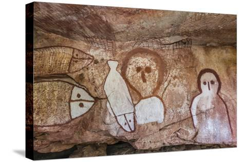 Aboriginal Wandjina Cave Artwork in Sandstone Caves at Raft Point, Kimberley, Western Australia-Michael Nolan-Stretched Canvas Print