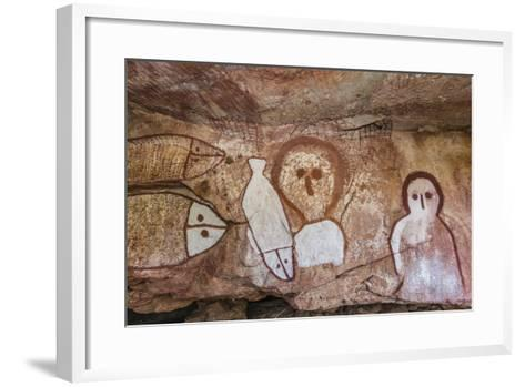 Aboriginal Wandjina Cave Artwork in Sandstone Caves at Raft Point, Kimberley, Western Australia-Michael Nolan-Framed Art Print
