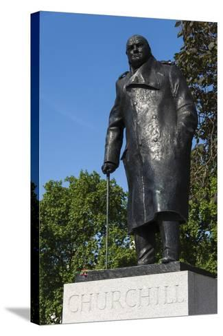 Statue of Sir Winston Churchill, Parliament Square, London, England, United Kingdom, Europe-James Emmerson-Stretched Canvas Print
