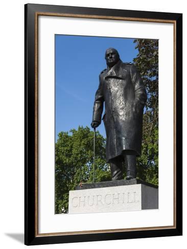 Statue of Sir Winston Churchill, Parliament Square, London, England, United Kingdom, Europe-James Emmerson-Framed Art Print