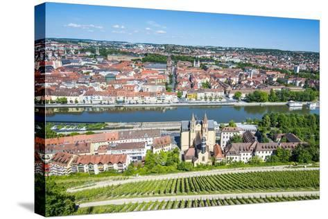 View over Wurzburg from Fortress Marienberg, Franconia, Bavaria, Germany, Europe-Michael Runkel-Stretched Canvas Print